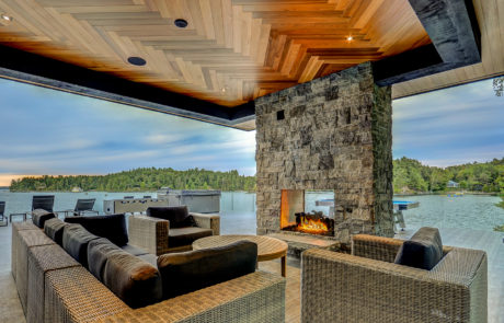 Stunning views at the luxury lounge space of this Muskoka Boathouse