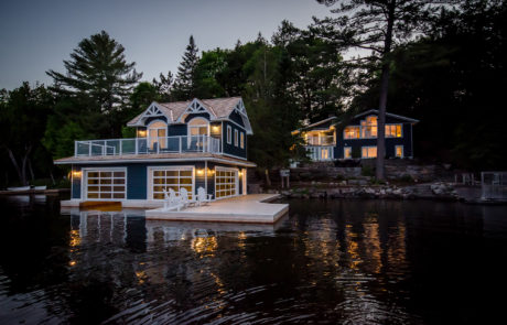 Traditional 1 slip Muskoka boathouse
