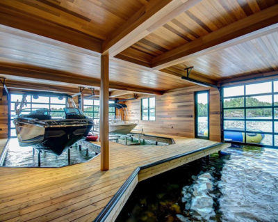 3-slip Muskoka Boathouse interior