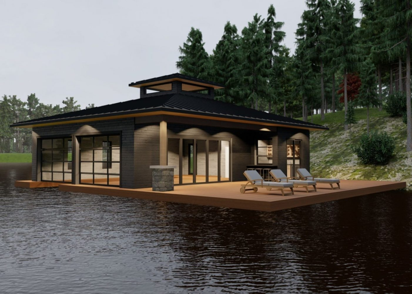 Contemporary one level Muskoka boathouse by PattyMac