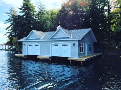 2 slip one level boathouse built by PattyMac in Muskoka
