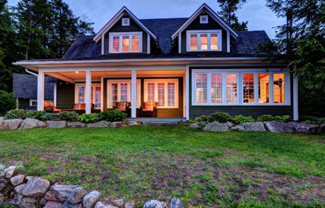 Traditional Lake Muskoka cottage with sizeable lakeside porch