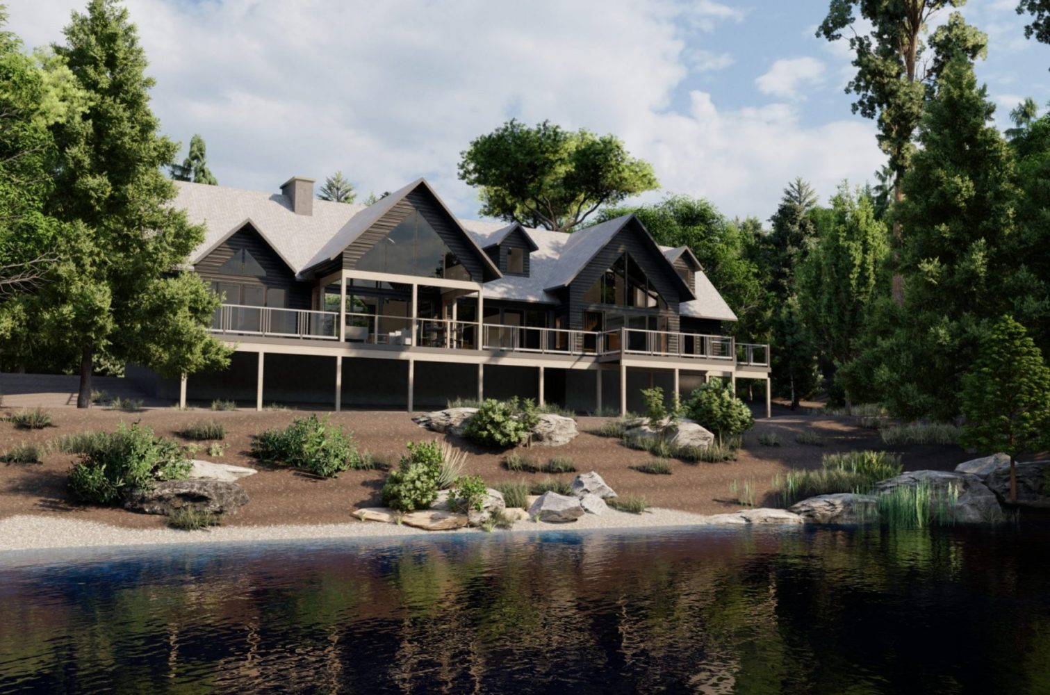 3D rendering of a transitional style Muskoka cottage by Spencer Douglas and PattyMac