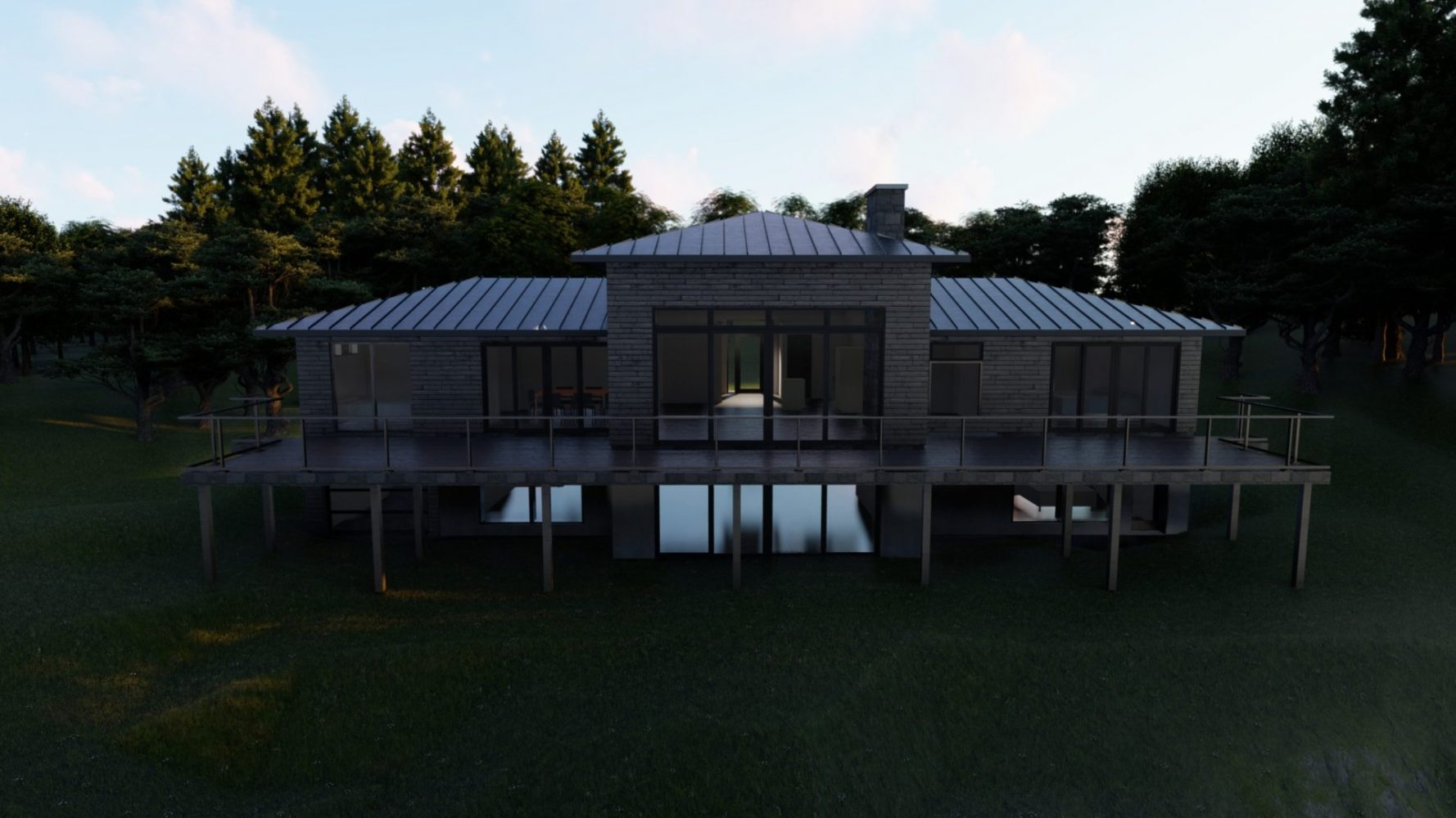 3D Rendering of Muskoka cottage at dusk showcasing the metal roof by PattyMac