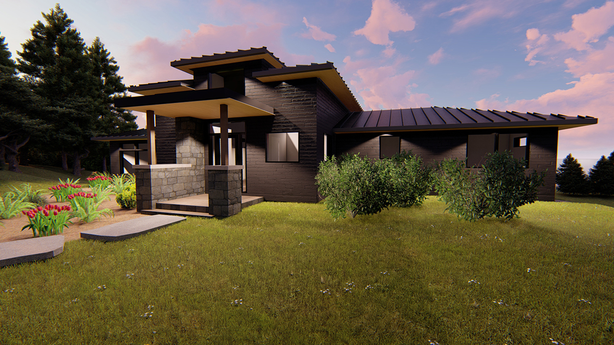 3D Rendering of a contemporary Muskoka cottage by Spencer Douglas and PattyMac
