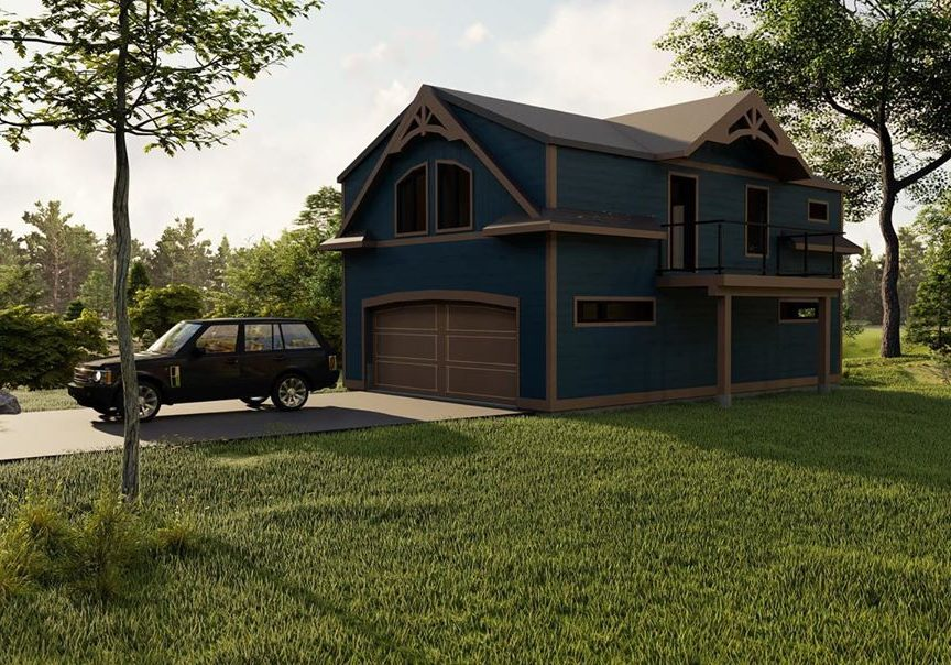 Traditional Muskoka style garage rendering by PattyMac