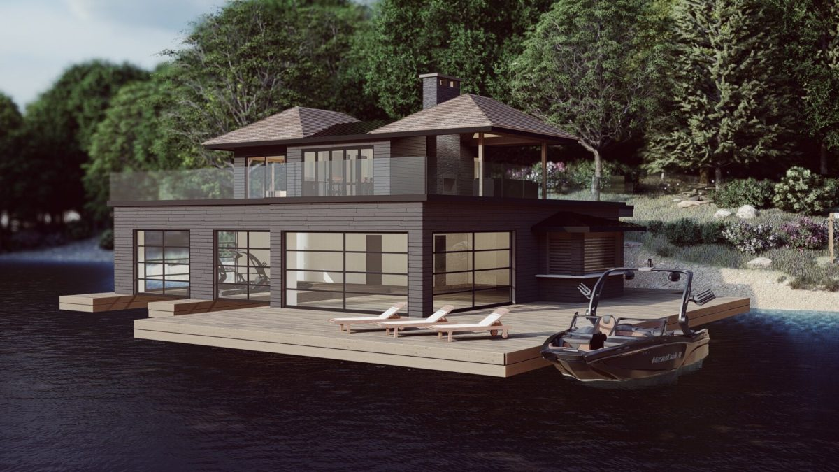 Rendering of a 2 slip boathouse with living quarters above by Spencer Douglas and PattyMac