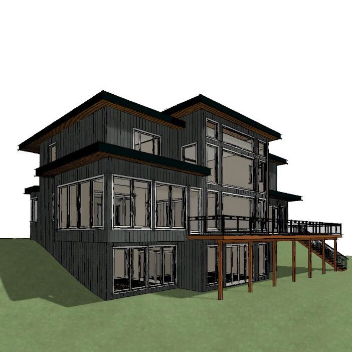 Wireframe rendering of a contemporary and modern cottage by PattyMac