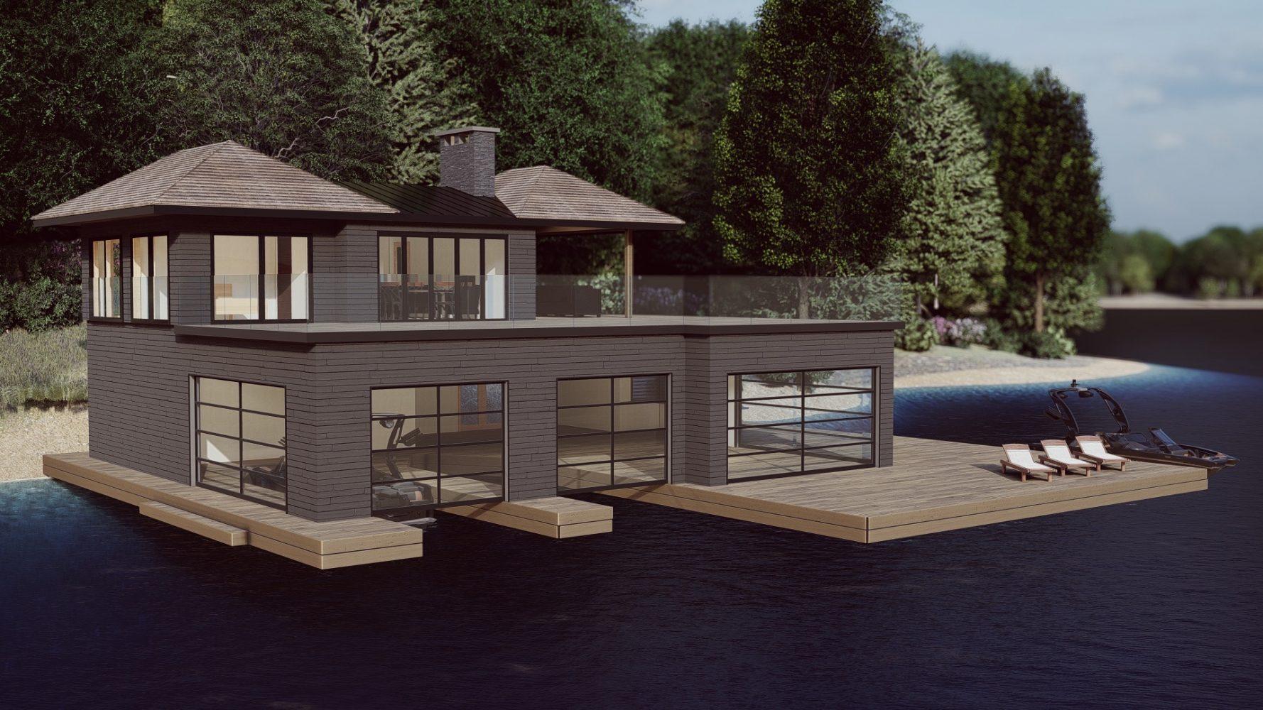 3D Rendering of 2 slip boathouse in Muskoka by PattyMac