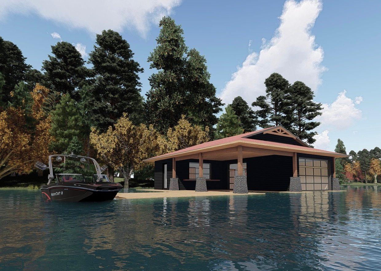 3D Rendering of Muskoka boathouse by Spencer Douglas