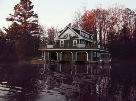 Traditional 3 slip Muskoka boathouse by PattyMac