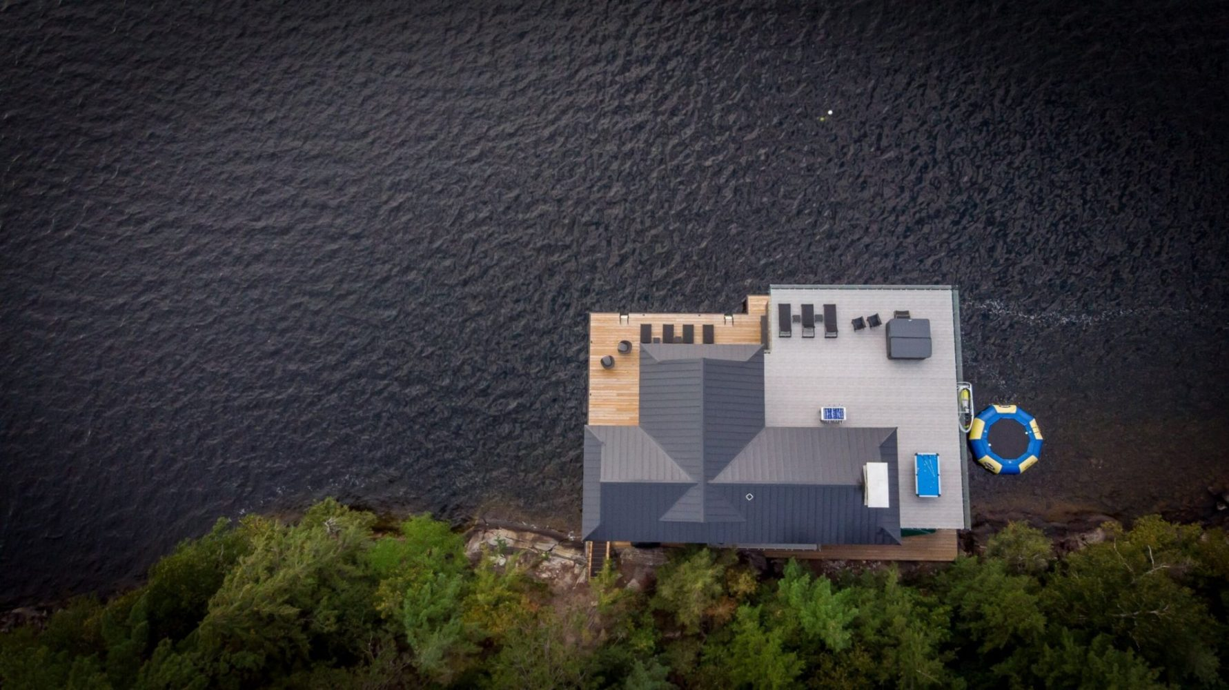Aerial view of standing seam steel roof in Muskoka
