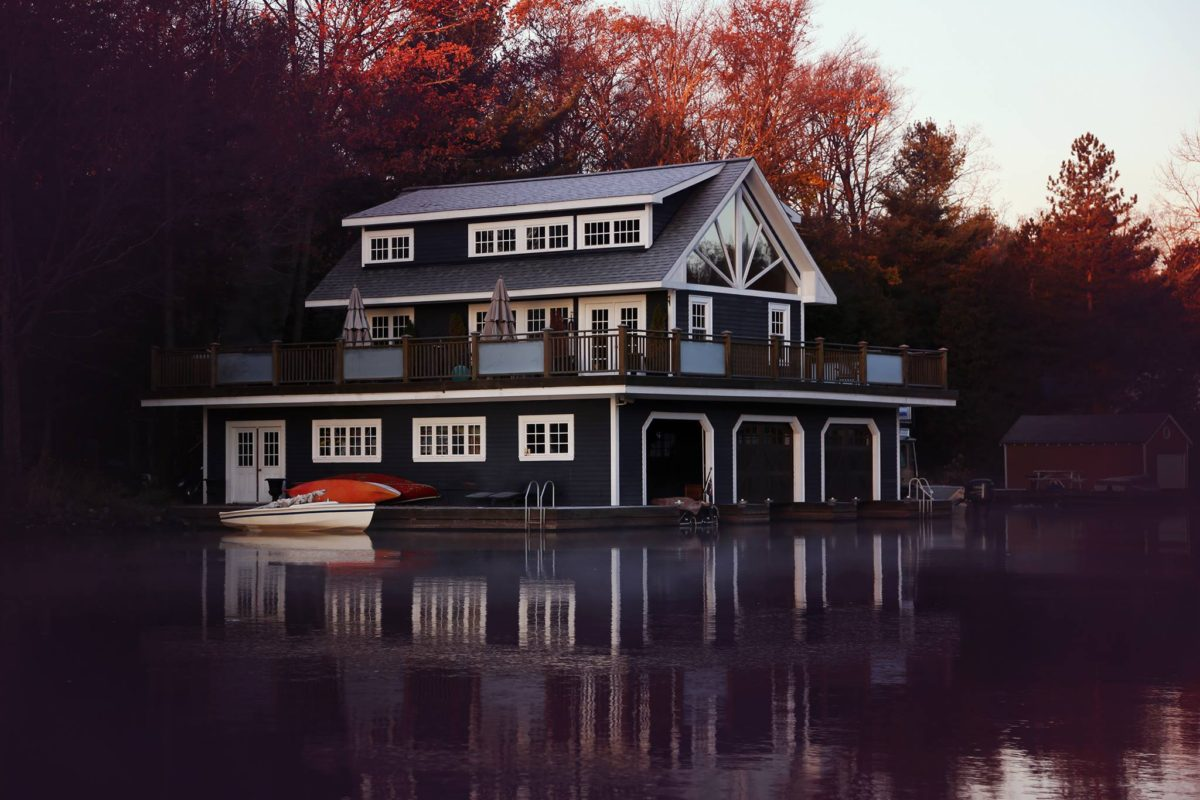 Traditional boathouse in Muskoka with 3 slips and living quarters