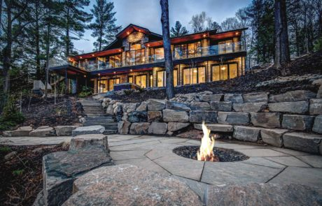 Uninterrupted views of Lake Rosseau from a contemporary cottage built by PattyMac