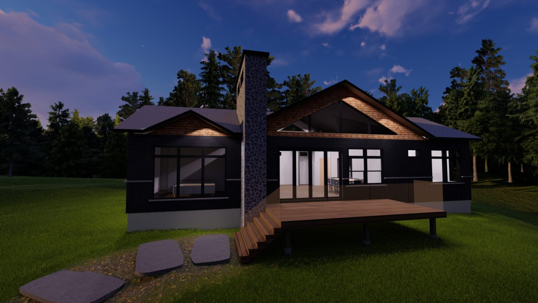 3D rendering of Muskoka cottage