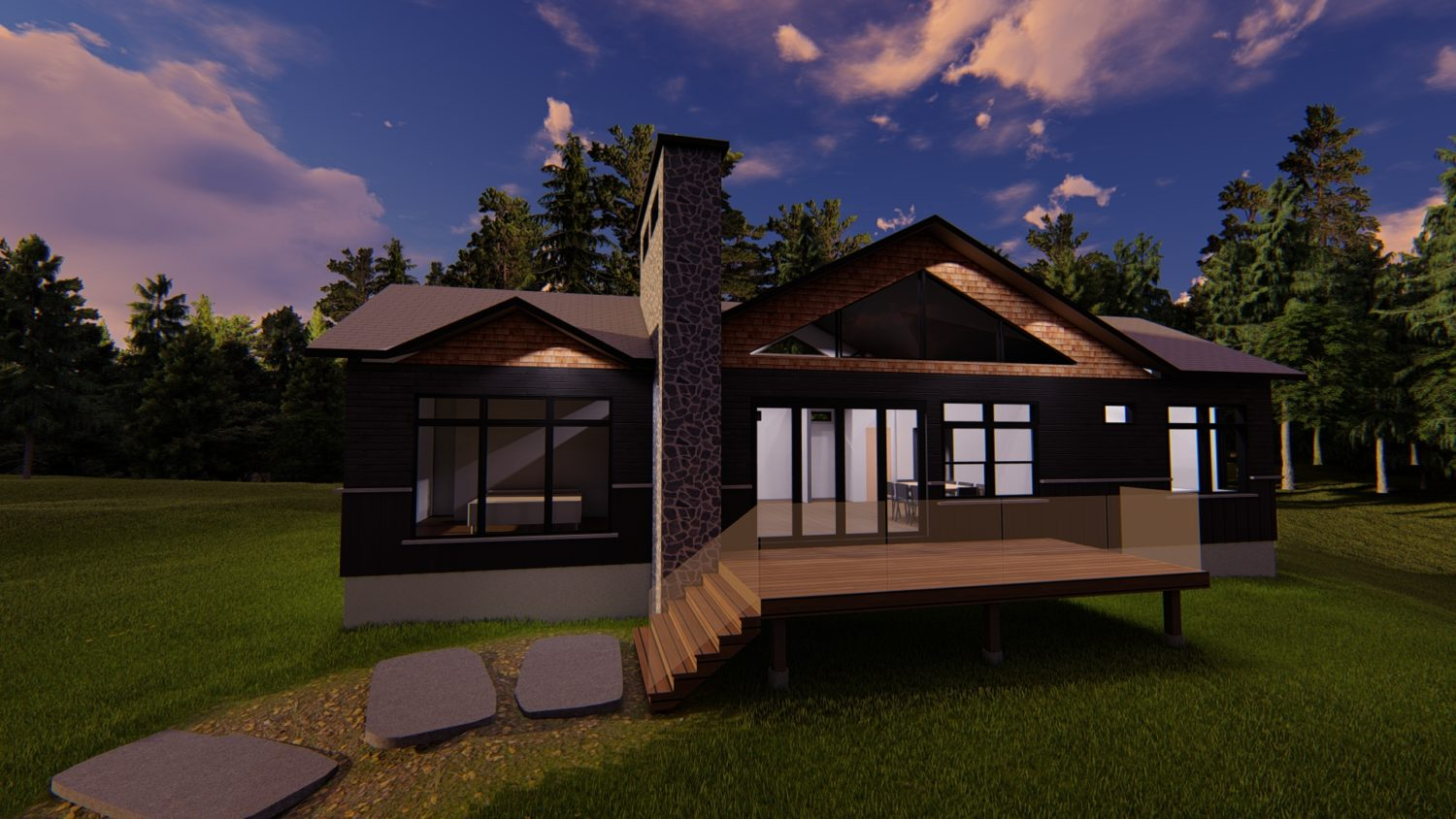 3D rendering of Muskoka cottage by Spencer Douglas and PattyMac