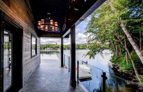 Views of Lake Muskoka with glass railings built by PattyMac