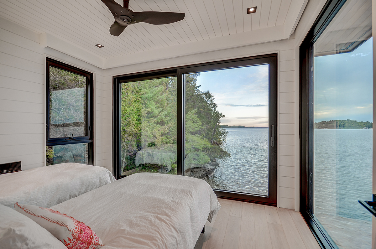 Cantilevered bedroom in a Muskoka boathouse