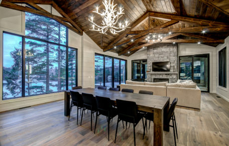 Timber trusses mixed with a contemporary style Muskoka cottage