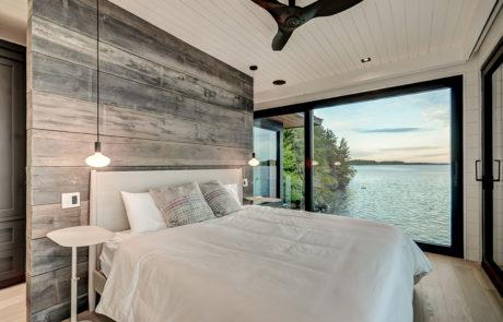 Muskoka boathouse with 180 degree lake views
