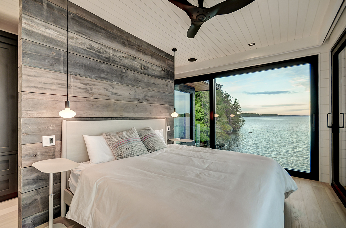 Muskoka boathouse with 180 degree lake views