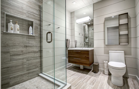 3 piece bathroom with glass shower enclosure