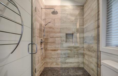 Rain shower head glass shower for a Muskoka boathouse