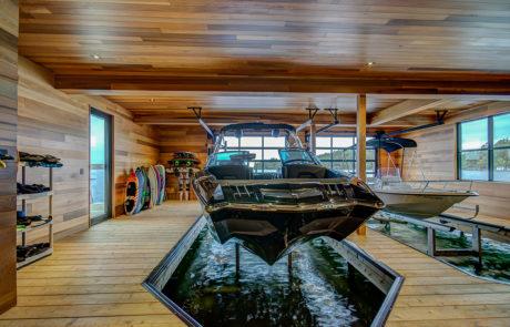 Muskoka boathouse close up of boat slip
