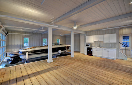 Kitchenette and interior lounge space of a Muskoka boathouse