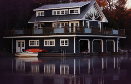Traditional Muskoka 3-slip boathouse by PattyMac