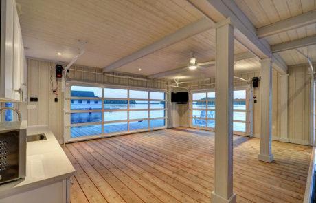Interior of a finished Lake Muskoka boathouse