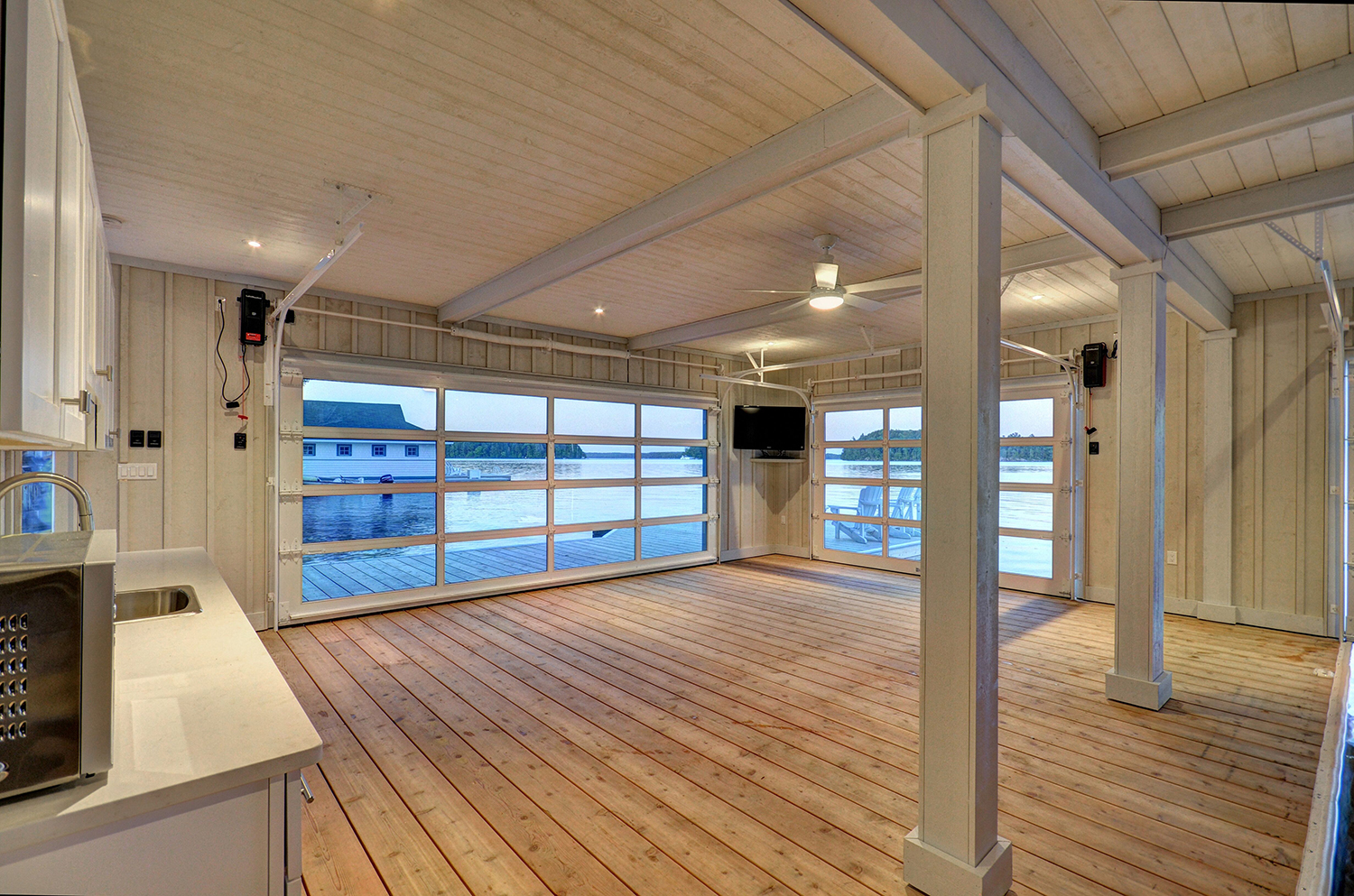 Interior of a finished Lake Muskoka boathouse