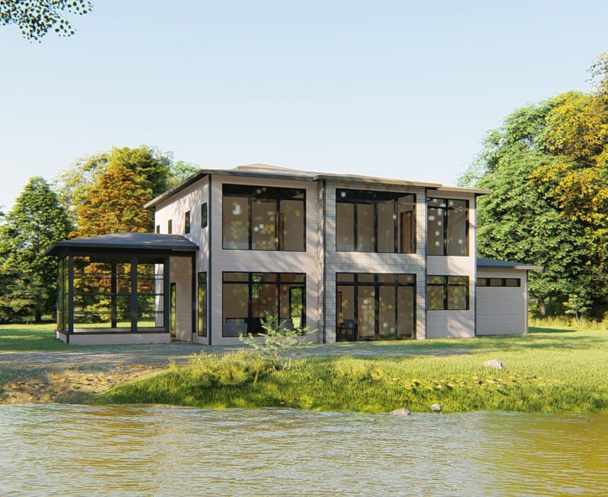 A Contemporary and modern Muskoka cottage rendering by PattyMac and Spencer Douglas