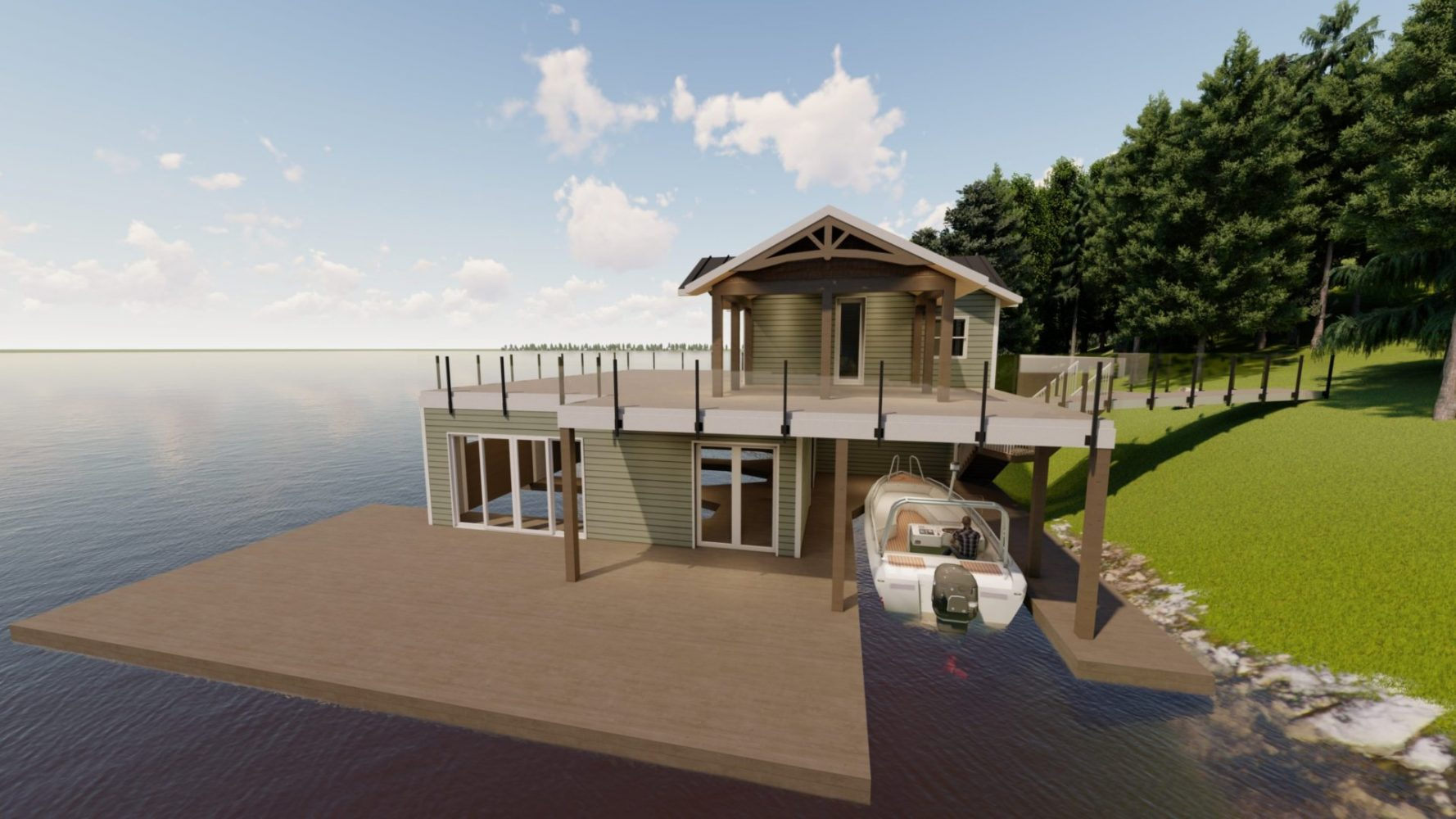 3D rendering of Muskoka boathouse by Spencer Douglas and PattyMac